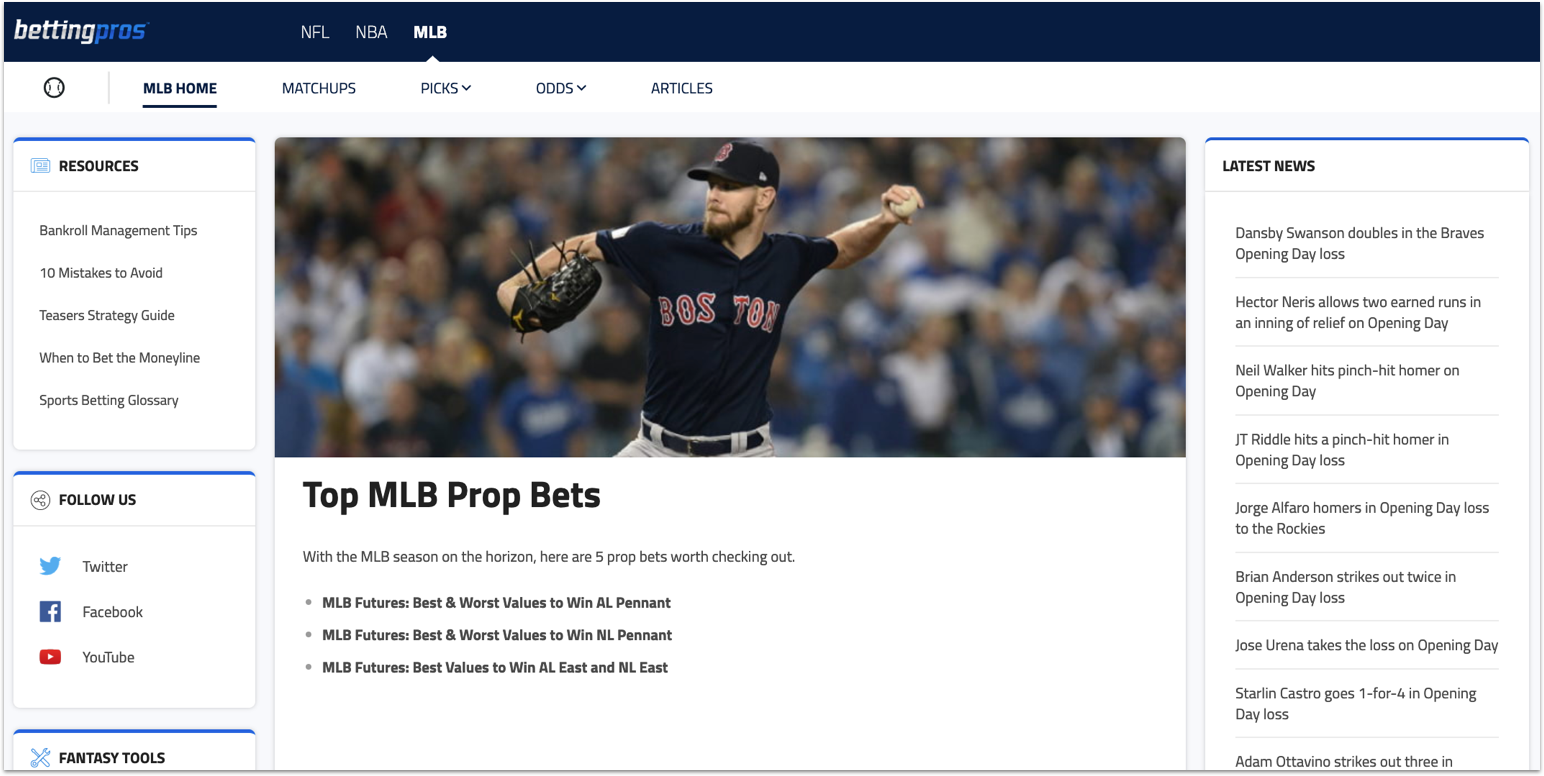 [3/28/2019] BettingPros: Now with MLB and NBA flavors