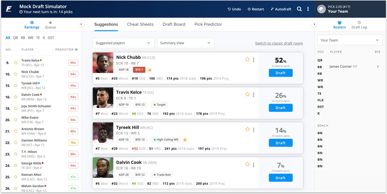 [8/9/2019] Huge Update to Draft Wizard Simulator Now Available for Fantasy Football