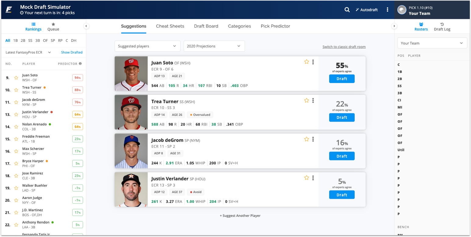 [2/24/2020] Major Draft Wizard Update for Fantasy Baseball