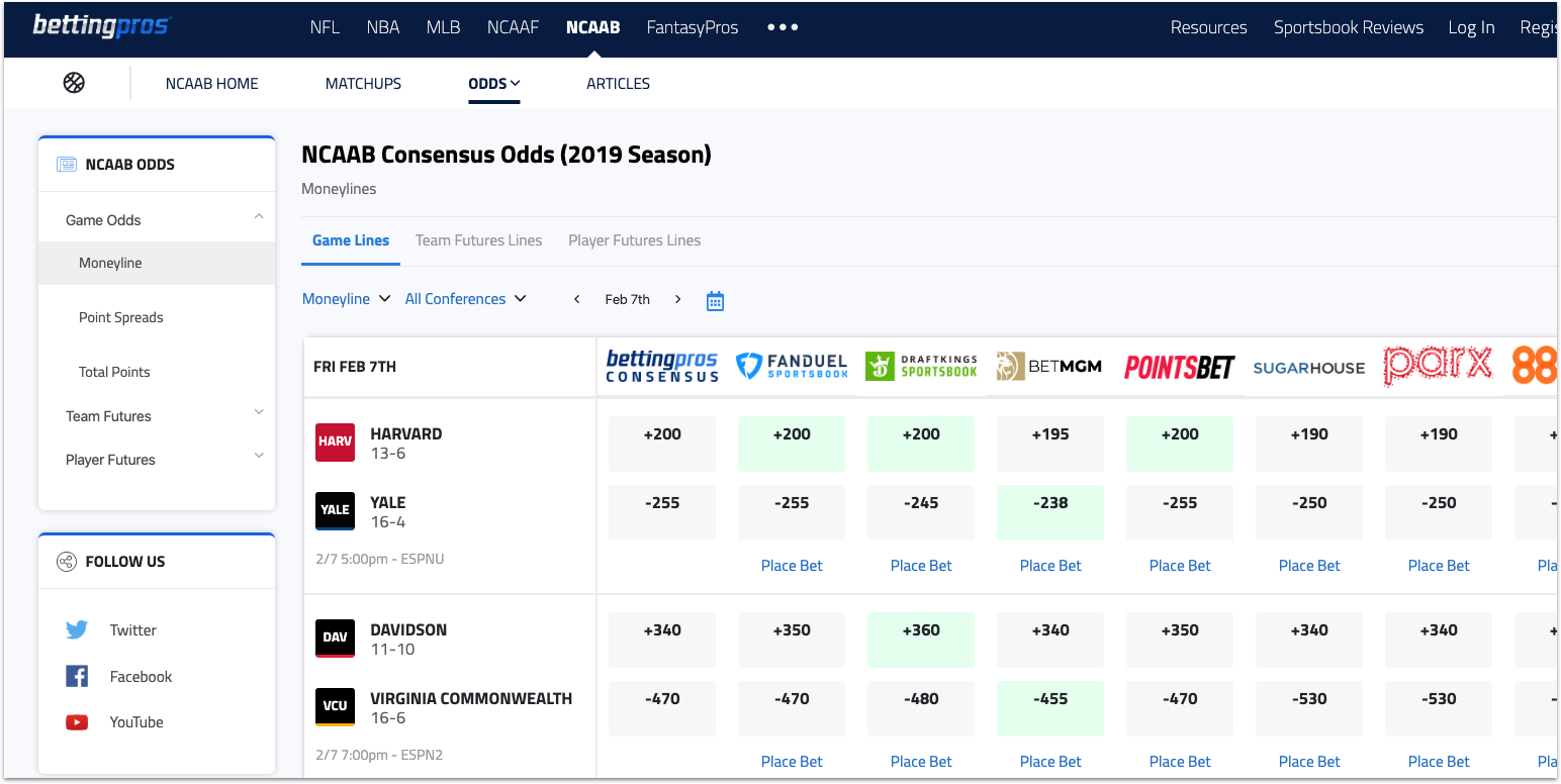 [2/7/2020] BettingPros Adds NCAA Basketball, Just in Time for March Madness
