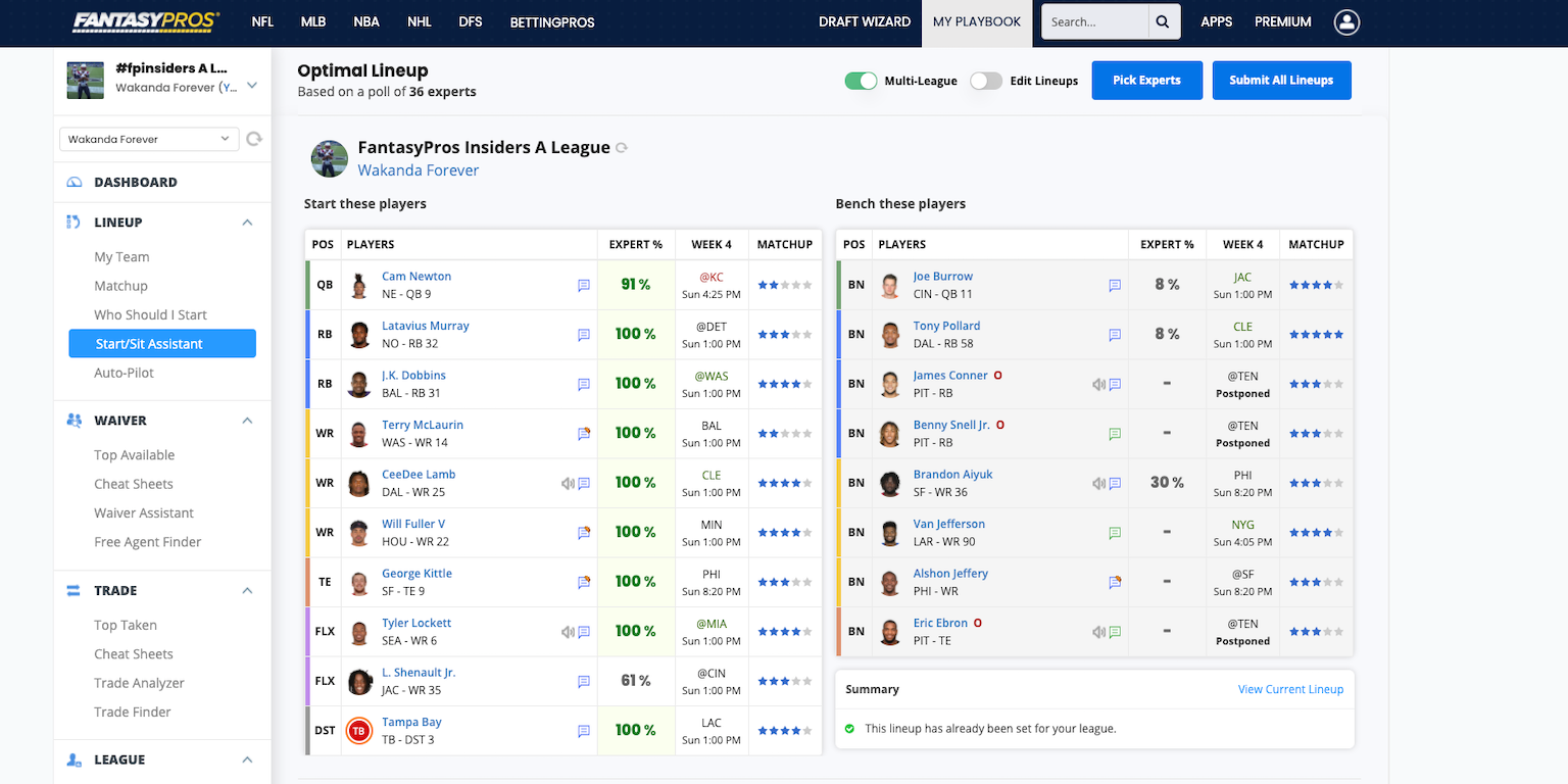 [10/02/2020] Setting your Optimal Lineups with the Start-Sit Assistant